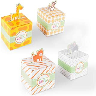 Born To Be Wild Party Favor Box, Cute Jungle Themed Zoo Animals for Baby Shower, Child Birthday (24 Boxes)