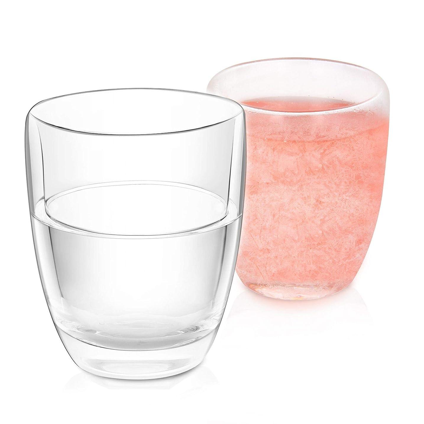 落ち着いて会員ペフNWK ダブルウォールジェル フロスティフリーズ冷却カップ 2個セット 10オンス ステムレスワイングラス ギフト BBQ プールパーティー アウトドアに最適