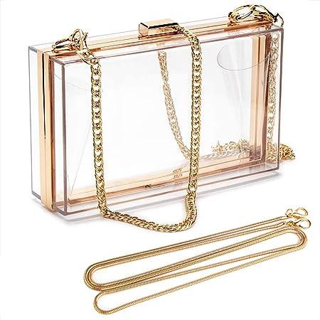 Linkidea Transparente Damen-Geldbörse, Acryl-Box, Abend-Clutch, transparent, für Party, Hochzeit, Bankett, Transparent – Gold, Medium
