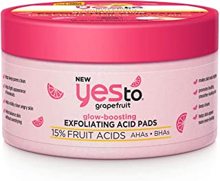 Yes To Grapefruit Facial Glow-Boosting Exfoliating Acid Pads, 12 Count
