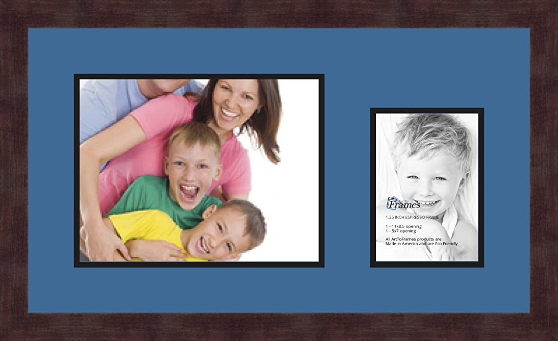 Art to Frames Double-Multimat-195-817/89-FRBW26061 Collage Frame Photo Mat Double Mat with 1-8.5x11 and 1-5x7 Openings and Espresso Frame