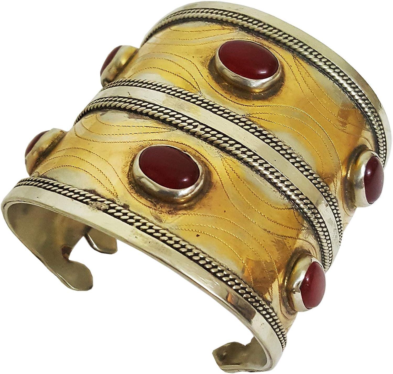 Mehrunnisa Original Turkmen Afghan Tribal Open Double Cuff Bracelet (JWL2491)