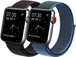 Vancle コンパチブル Apple Watch バンド 38mm 40mm 42mm 44mm ナイロンスポーツループバンド iWatch Series5/4/3/2/1に対応 (38mm/40mm, 2色セット ミックスブラック+ブルーグリーン)