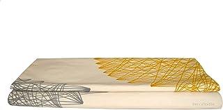 Camino de cama,diseño geométrico amarillo mostaza y gris, Exclusivo BeccaTextile