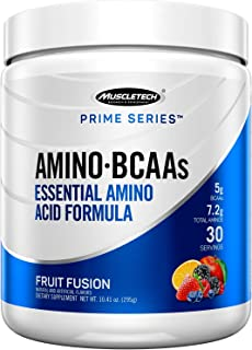 BCAA Amino Acids + Energy | MuscleTech Prime Series BCAAs + EAA | 7.2g of Total Aminos + Electrolytes | Sup...