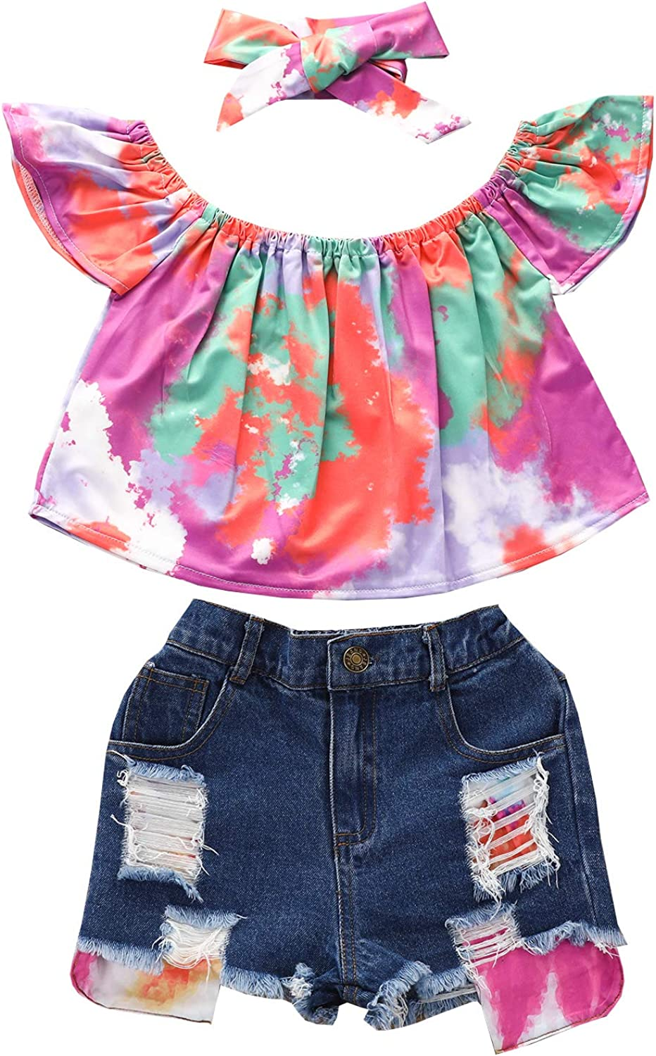 Toddler Baby Girls Off Shoulder Ruffle Short Sleeve Tops Ripped Denim Shorts Outfits Clothes Set