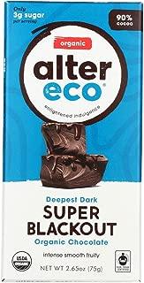 Alter Eco | Super Blackout Bar | 90% Pure Dark Cocoa, Fair Trade, Organic, Non-GMO, Gluten Free Dark Chocolate Bar, 12 Bars
