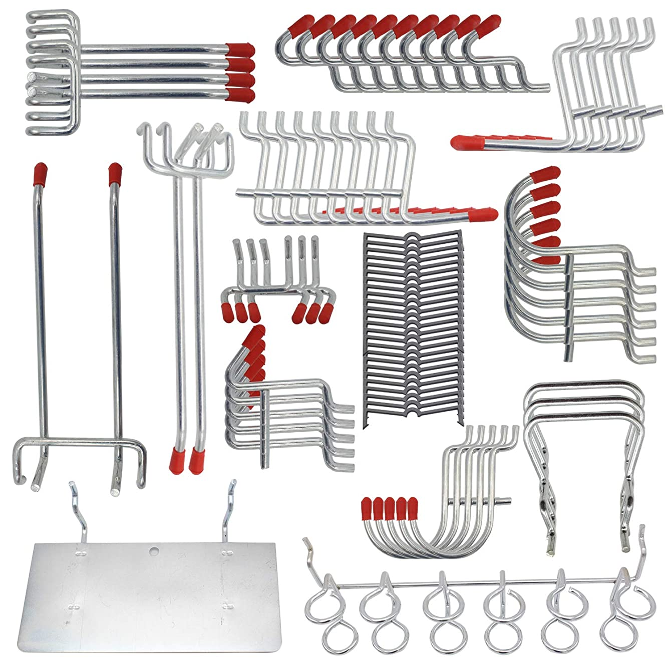 170 PCS Metal Pegboard Hooks Assortment Peg Board Storage System Peg Board Accessories Set For Garage Kitchen Workshop Utility Hooks Include Black Peg Locks