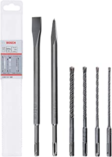 Bosch Professional 2607017585 6 Piece SDS Plus-5 Hammer Drill Bit and Chisel Set (for Concrete and Masonry; Accessories: R...