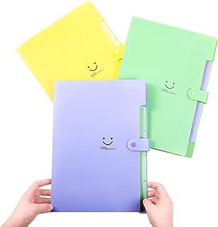 Phyxin Expandable File Folders Organizer Letter A4 Size Accordion Document File Folder Plastic 5-Pocket Set of 3,Purple Green Yellow