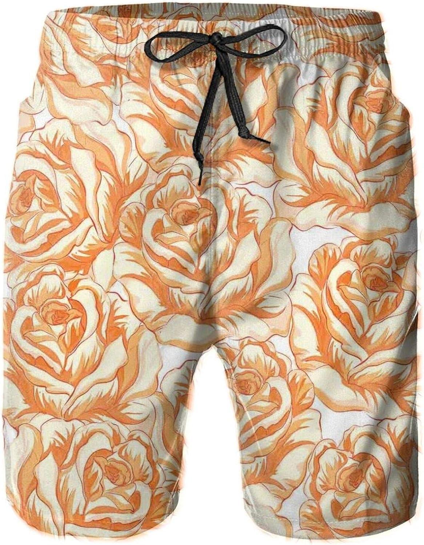 Romantic Rose Bouquet in Warm Tones Valentines Day Love Flowers Printed Beach Shorts for Men Swim Trucks Mesh Lining,XL