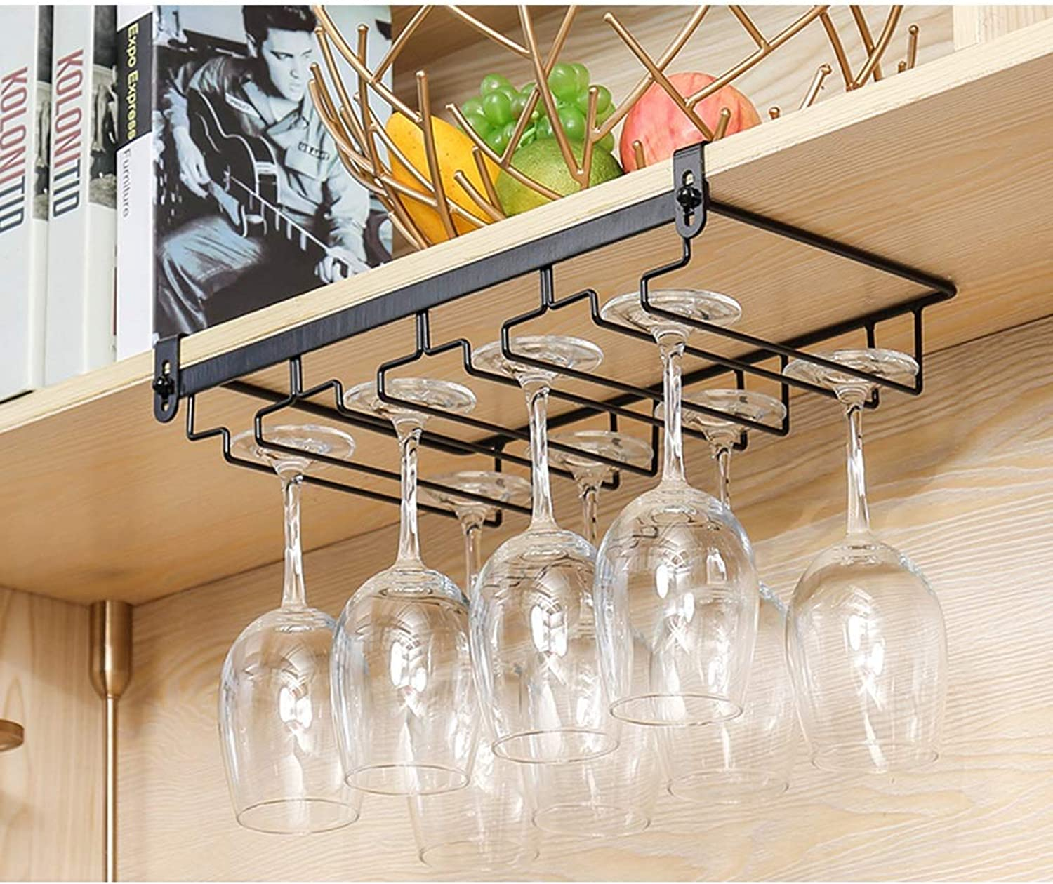 Red Wine Shelf Wine Glass Rack Goblet Rack Upside Down Home Wine Cabinet Bar Hanging Black Wrought Iron Multi-Size Wine Glass Rack (Free Nail) (Size   45  22.5cm) (Size   45  22.5cm)