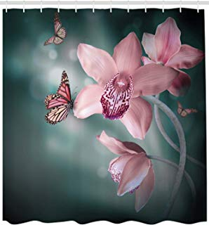 """Ambesonne Floral Shower Curtain, Orchid Flower with Butterfly Soft Fresh Spring Nature Theme Art Photo, Cloth Fabric Bathroom Decor Set with Hooks, 84"""" Extra Long, Pink Green"""