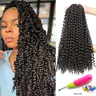 18 Inch Passion Twist Crochet Hair 6 Packs/Lot Water Wave Crochet Braiding Hair Long Bohemian Hair for Passion Twist Pre Looped Synthetic Natural Hair Extensions Soft Lightweight (4#)
