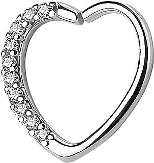 Tragus Ohr Helix Cartilage Piercing mit Schild Schirm Herz Silber