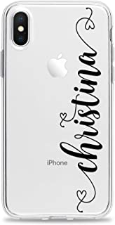 Case Compatible with iPhone 11 Pro Max Xs Xr X 10s 10r 10 8 Plus 7 6s 6 Se 5s 5 Personalized Monogrammed with Custom Name Slim Soft Clear