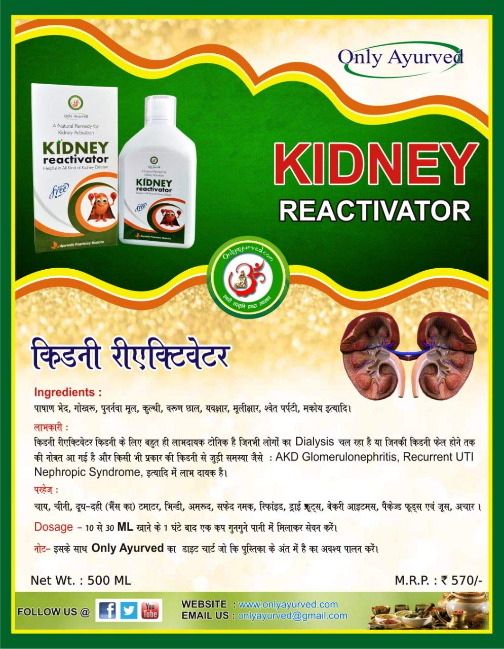 Buy Only Ayurved Natural Kidney Re Activator 500 Ml Online At Low Prices In India Amazon In