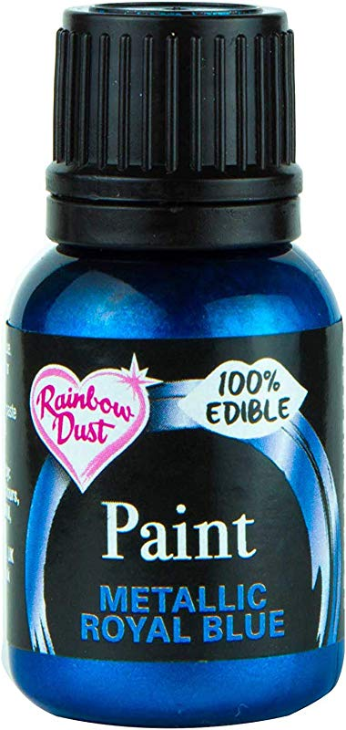 Ready To Use Metallic Royal Blue 100 Edible Food Paint For Cake And Icing Decoration By Rainbow Dust
