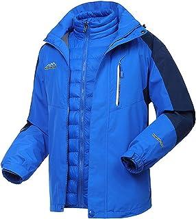 WOCTP Chaqueta 3 En 1 para Hombre Chaqueta a Prueba De Viento Impermeable para Esquí Al Aire Libre, Abrigo con Capucha Des...
