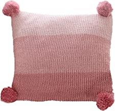 LakeMono 100% Cotton Knitted Cushion Covers, Decorative Stretchable Pillow Case for Sofa/Car/Office with Handmade Pompoms (Pink)