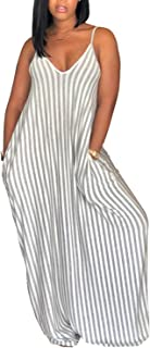 Womens Casual Condole Belt Stripes Deep V Neck Loose Maxi Dress with Pocket