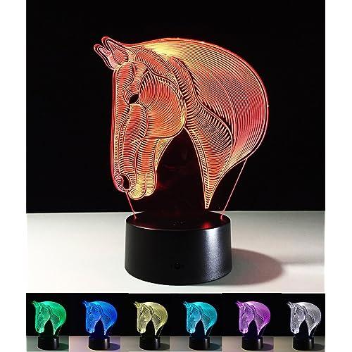 Lámparas de Art Deco, Lámpara de Noche LED 3D, color cambiando las luces LED