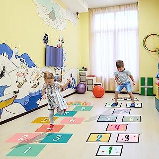 20Pcs Funny Number Hopscotch Game Floor Stickers, KMOTASUO Creative Cartoon Floor Decals for Kids, DIY Digital Grid Game W...