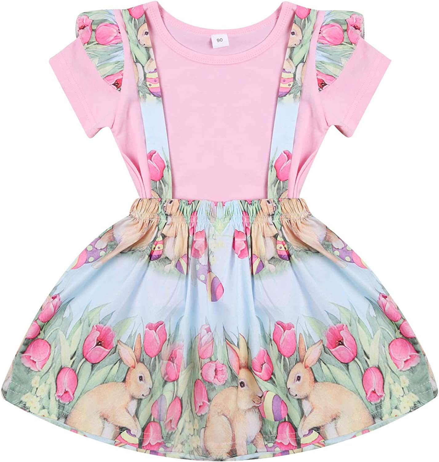 Toddler Baby Girl Easter Bunny Clothes Short Sleeve Tops Solid T-Shirt Easter Bunny Suspender Skirt 2 Piece Outfit Set