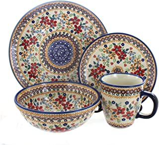 8a63b49fd207 5 · Blue Rose Polish Pottery Red Daisy 4 Piece Place Setting