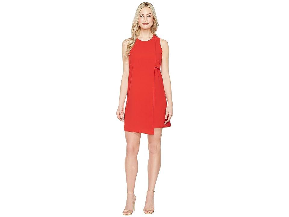 Karen Kane Asymmetric Shift Dress (Tomato) Women