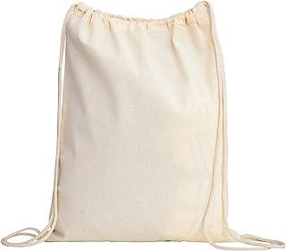 Cotton Drawstring Backpack Gym Sack, Canvas Cinch Sport Pack for Men, Women
