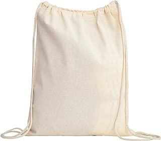 TBF Cotton Drawstring Backpack Gym Sack Canvas Cinch Sport Pack for Men, Women - Set of 12, Natural
