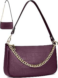 Damen Umhängetasche Kleine Schultertasche Kette Tasche PU Leder Handtaschen Clutch Geldbörse Messenger Crossbody Bag Vinta...