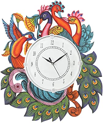 Harmoso Home Decor Wall Clocks Hand Painted Wooden Wall Clock for Home/Office/Bedroom/Kitchen Wall Clock for Living Room Traditional Wall Clock (Standard Size 40 cm X 33 cm, Multi Color) (Kingfisher)