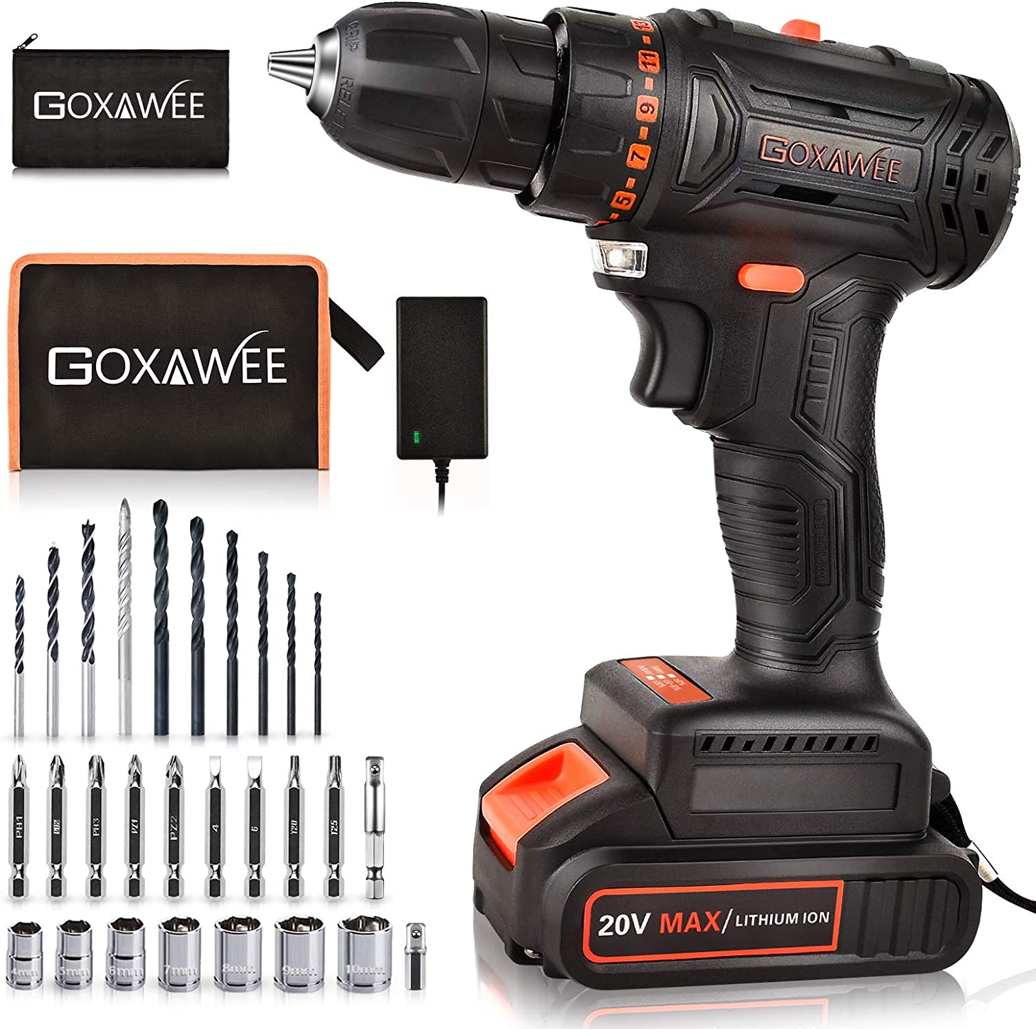 20V Cordless Drill with Brushless Motor - GOXAWEE Electric Screw Driver Set 33pcs Set with Nice Tool Bag (High Torque, 2-Speed, 10mm Automatic Chuck) for Home Improvement & DIY Project
