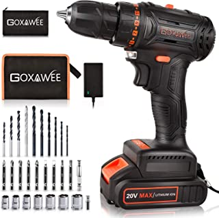 20V Brushless Cordless Drill Set, GOXAWEE Power Drill Kit with 2000 mAh Battery, 440 In-Lb Torque, 2 Speed, 23+1 Clutch, H...