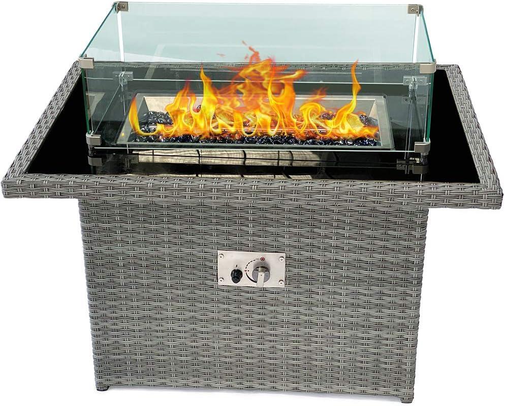 40 Max 71% OFF discount Inch PE Rattan Outdoor Gas Fire Table 50 BTU 000 Fir Propane