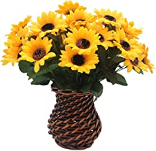 velener Artificial Silk Sunflower with Rattan Vase Daisy Arrangement for Home Decor (6 Bunches)