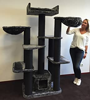 Cat Tree for Large Cats – Cat Empire Blackline Dark Grey – 72 inch 143 lbs 6 inch Ø poles – Total size 72x47x24 inch – Cat Scratcher scratching post activity center Cat Trees for large cats. Quality p