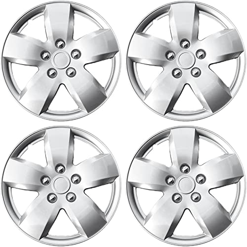lowest 15 inch Hubcaps Best for 2007-2008 high quality Nissan Altima - (Set of online sale 4) Wheel Covers 15in Hub Caps Silver Rim Cover - Car Accessories for 15 inch Wheels - Snap On Hubcap, Auto Tire Replacement Exterior Cap online