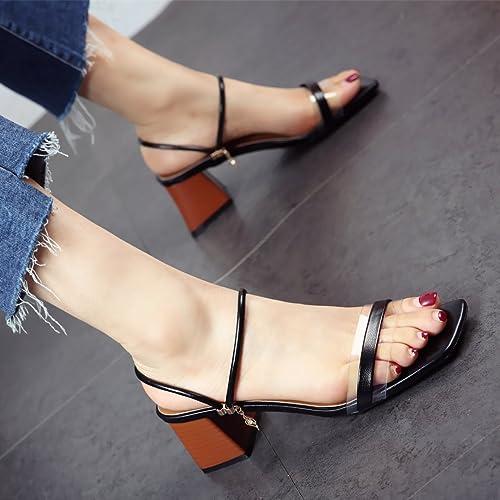 YMFIE Mesdames Square Toe Toe Heel Sandals Summer Mode Talon Haut tempérament Chaussons Deux hommeières de s'habiller