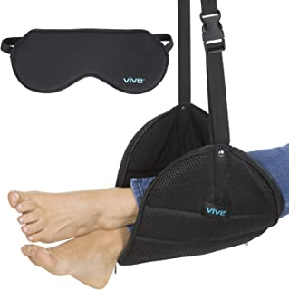 Vive Airplane Foot Rest - Elevated Leg Hammock for Airlines, Travel and Home - Adjustable Foot Sling for Under Office Desk, Flights and Train - Portable Cushion with Carrying Case and Sleep Mask