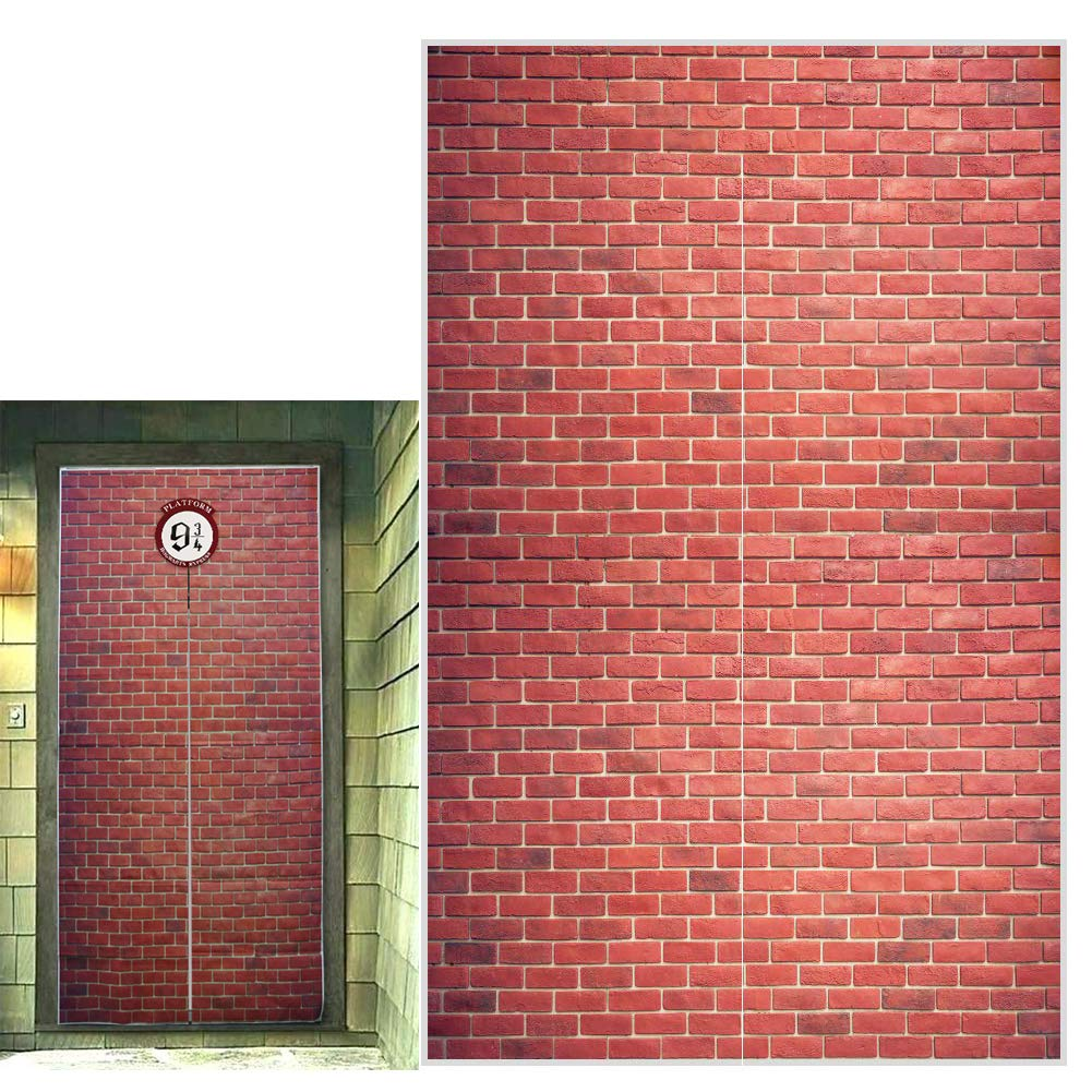 """Platform 9 and 3/4 King's Cross Station, Curtains Door, Red Brick Wall Party Backdrop, Secret Passage to The Magic School, Platform Party Supplies Halloween Decoration 78.7""""x 49.2"""" Inch"""