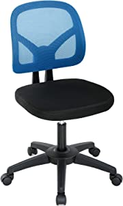 Ergonomic Office Chair Mesh Computer Chair with Lumbar Support Mid Back Desk Chair Adjustable Swivel Rolling Task Chair for Adults(Blue)
