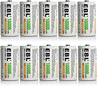 EBL 10 Pack D Size D Cell 10,000mah High Capacity High Rate NiMH Rechargeable Batteries