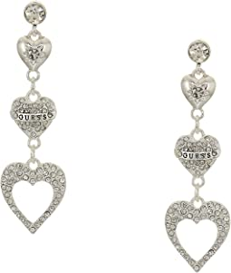 Repeating Hearts Linear Drop Earrings