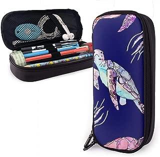 KODFIVDW Cartoon Sea Turtle Jellyfish Cute Pen Pencil Case Leather 8 X 3.5 X 1.5 Inch Big Capacity Double Zippers Pencil Pouch Bag Pen Holder Box for School Office Girls Boys Adults