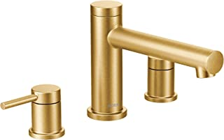 Moen T393BG Align 2-Handle Deck Mount Modern Roman Tub Faucet Trim Kit, Valve Required, Brushed Gold