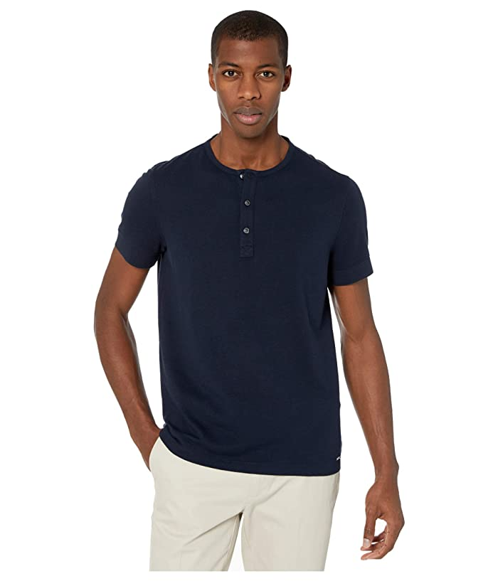 Michael Kors  Cotton Silk Crepe Henley (Dark Midnight) Mens Clothing