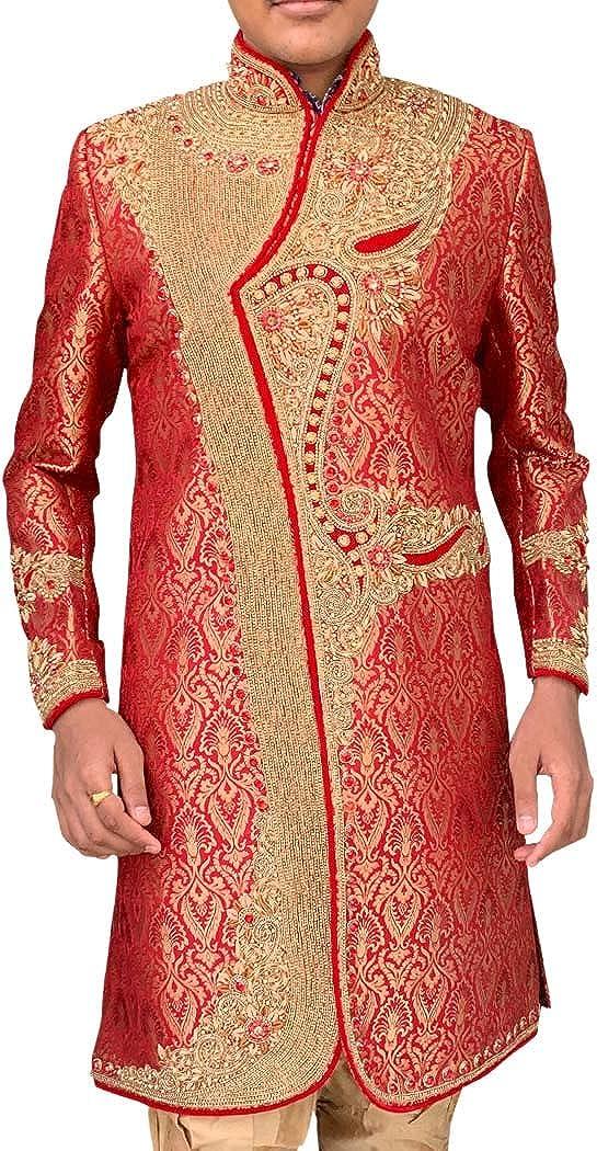 INMONARCH Mens Red Hand Embroidered Designer Sherwani SH393